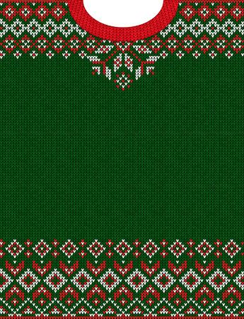 Brzydki sweter Wesołych Świąt i szczęśliwego nowego roku z życzeniami ramki obramowania z dzianiny wzór. Wektor ilustracja dzianiny wzór tła z ornamentami skandynawskimi w stylu ludowym. Kolory biały, czerwony, zielony.