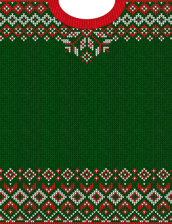Ugly sweater Merry Christmas and Happy New Year greeting card frame border knitted pattern. Vector illustration knitted background pattern with folk style scandinavian ornaments. White, red, green colors. Ilustração