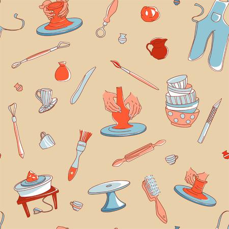 Clay Pottery Studio naadloze patroon achtergrond. Ambachtelijk creatief ambachtelijk concept. Handgemaakte traditionele aardewerk maken, hand getrokken vector illustratie doodle stijl Vector Illustratie