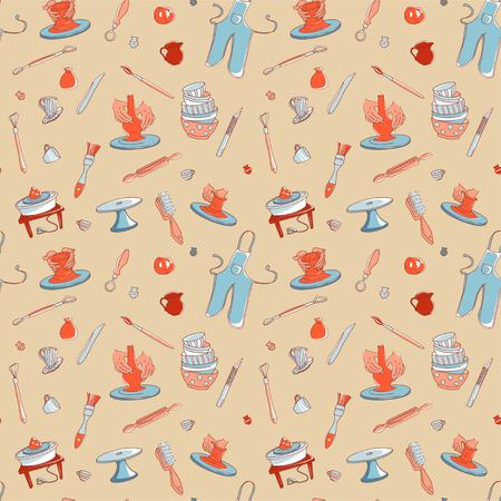 Clay Pottery Studio naadloze patroon achtergrond. Ambachtelijk creatief ambachtelijk concept. Handgemaakte traditionele aardewerk maken, hand getrokken vector illustratie doodle stijl