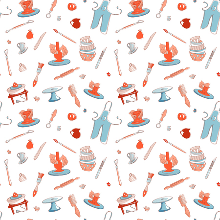 Clay Pottery Studio seamless pattern background. Artisanal Creative Craft concept. Handmade traditional pottery making, hand drawn vector illustration doodle style