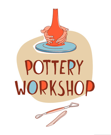 Clay Pottery Workshop Studio. Artisanal Creative Craft logo concept. Handmade traditional pottery making, hands shaping vase spinning wheel red clay hand drawn vector illustration sketch doodle style
