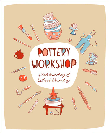 Clay Pottery Workshop Studio invitation. Artisanal Creative Craft logo concept. Handmade traditional pottery making, hand drawn vector illustration doodle style Logos