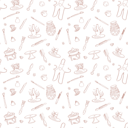 Clay Pottery Studio seamless pattern background. Artisanal Creative Craft concept. Handmade traditional pottery making, hand drawn vector illustration doodle style Vector Illustratie