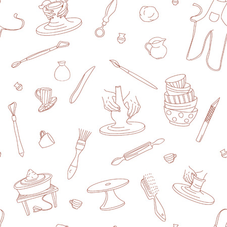 Fondo senza cuciture di Clay Pottery Studio. Concetto di artigianato creativo artigianale. Fabbricazione di ceramiche tradizionali fatte a mano, stile doodle di illustrazione vettoriale disegnato a mano