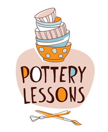Clay Pottery Lessons Studio. Artisanal Creative Craft logo concept. Handmade traditional pottery making, stack of bowls, cups, dishes and crockery hand drawn vector illustration doodle style