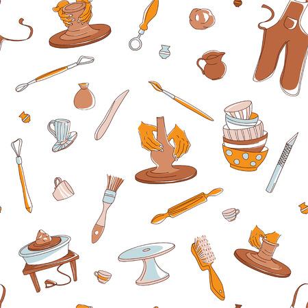 Fondo senza cuciture di Clay Pottery Studio. Concetto di artigianato creativo artigianale. Fabbricazione di ceramiche tradizionali fatte a mano, stile doodle di illustrazione vettoriale disegnato a mano Vettoriali