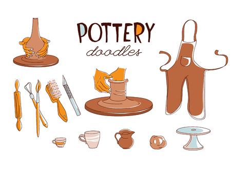 Set di icone di Clay Pottery Workshop Studio. Concetto di artigianato creativo artigianale. Produzione di ceramiche tradizionali fatte a mano, illustrazione vettoriale disegnata a mano in stile scarabocchio