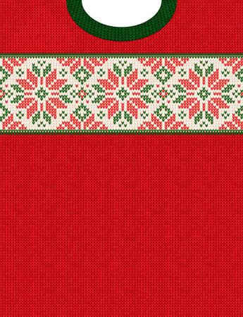 Manifesto di vendita invernale di stagione di Natale maglione brutto. Modello di sfondo a maglia illustrazione vettoriale con fiocchi di neve di cervi, ornamenti scandinavi per volantini pubblicitari, banner. Colori bianco, rosso, verde