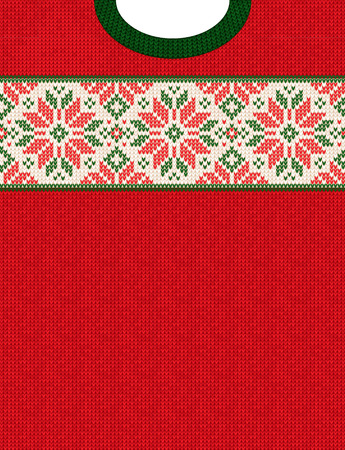 Ugly sweater Christmas Season Winter Sale Poster. Vector illustration knitted background pattern with deers snowflakes, scandinavian ornaments for advertising flyers, banners. White, red, green colors