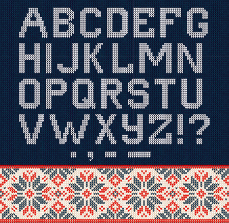 Ugly sweater Christmas Season Winter Sale Poster. Vector illustration knitted background pattern with deers snowflakes, scandinavian ornaments for advertising flyers, banners. White, blue, red colors