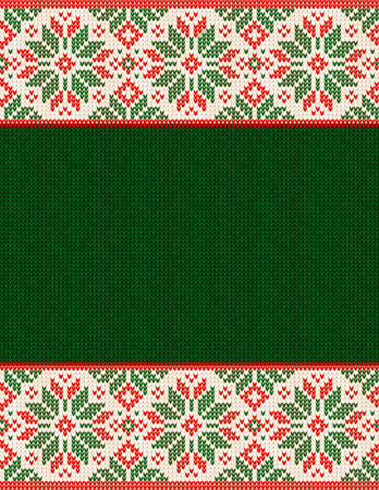 Ugly sweater Christmas Season Winter Frame Border Poster. Vector illustration seamless knitted background pattern with snowflakes, scandinavian ornaments. White, red, green colors  イラスト・ベクター素材