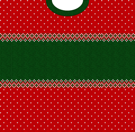 Ugly sweater Merry Christmas and Happy New Year greeting card frame border template. Vector illustration knitted background pattern with folk style scandinavian ornaments. White, red, green colors.
