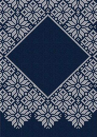 Winter Christmas Season Frame Border Poster Invitation Flyer Banner Label Tag Template. Vector illustration knitted background pattern with snowflakes, scandinavian ornaments. White, blue colors
