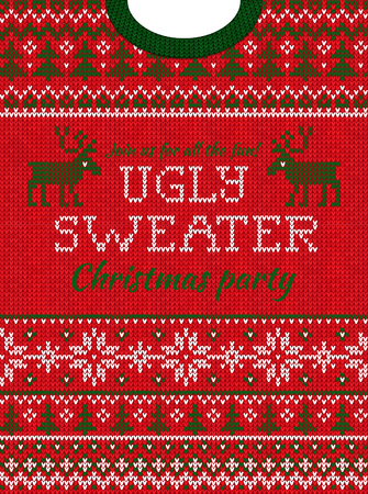 Ugly sweater Christmas party invite. Vector illustration Handmade knitted background pattern with deers? christmas tree and snowflakes, scandinavian ornaments. White, red, green colors. Flat style