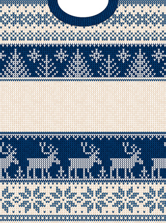 Ugly sweater Merry Christmas and Happy New Year greeting card frame border . Vector illustration knitted background pattern with folk style scandinavian ornaments. White, navy blue colors.