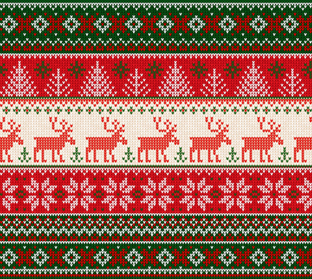 Ugly sweater Merry Christmas Happy New Year Vector illustration knitted background seamless pattern folk style scandinavian ornaments. Wallpaper wrapping paper textile print. White, red, green colors.