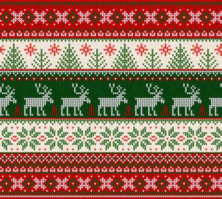 Brutto maglione Buon Natale Felice Anno Nuovo Illustrazione vettoriale a maglia sfondo senza cuciture ornamenti scandinavi in stile folk. Carta da parati stampa tessile su carta da imballaggio. Colori bianco, rosso, verde.