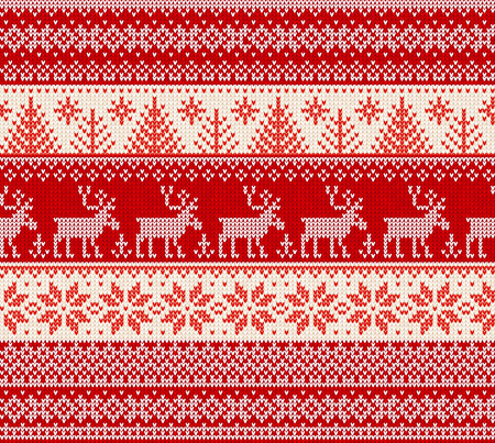 Ugly sweater Merry Christmas Happy New Year Vector illustration knitted background seamless pattern folk style scandinavian ornaments. Wallpaper wrapping paper textile print. White, red, colors.