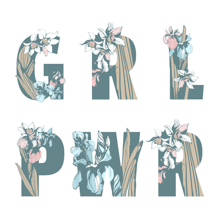 Lettering Inscription GRL PWR Girl Woman Power hand drawn floral pattern ornament lettering spring flowers iris narcissus. Vector grunge illustration female feminist sisterhood t-shirt print Archivio Fotografico - 114724787