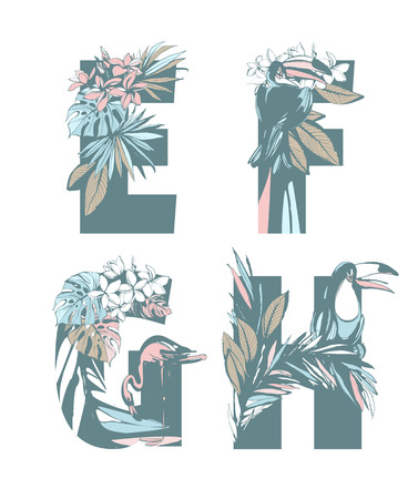 Decorative set floral tropical tropic pattern letter alphabet abc font. Lettering hand drawn beach palm leaves birds flowers ornament. Vector grunge pink blue illustration t-shirt print. E, F, G, H Ilustracja