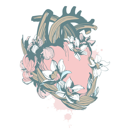 Blooming loving human anatomical heart hand drawn floral pattern ornament spring flowers iris narcissus. Vector grunge illustration for Happy Valentines Day greeting card t-shirt print Stock Illustratie