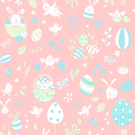 Funny Happy Easter seamless pattern background greeting card with rabbit, bunny, chicks and flowers, basket, easter eggs hunt . Vector Illustration doodle kids style design. Stock Photo