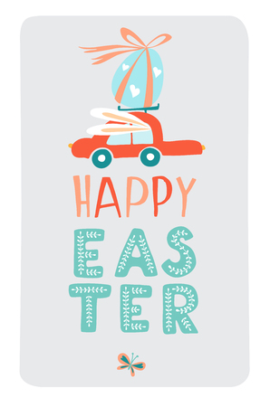 Funny cute colorful greeting Happy Easter card with Easter eggs, red car and fective lettering. Doodle outline thin line style vector illustration on white background Illustration