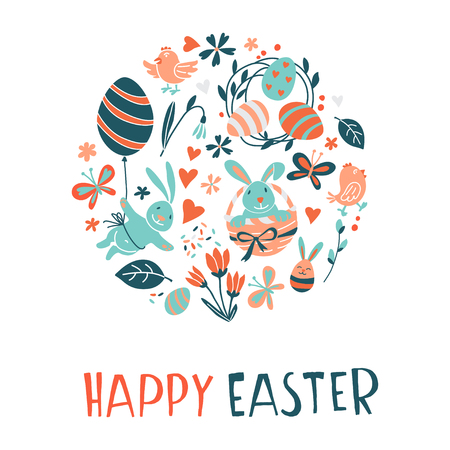 Funny Happy Easter greeting card background with rabbit, egg balloons, bunny, chicks and flowers, easter basket, childrens game easter eggs hunt . Vector Illustration kids cartoon style design. Illustration