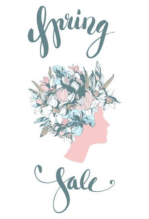 Decorative floral pattern woman's head poster Spring Sale. Lettering fashion hand drawn spring flowers iris narcissus. Vector grunge pink and blue illustration poster