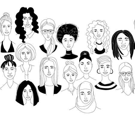 Womans head seamless pattern border frame background Girl Power Feninist Happy International Womens Day. Hand drawn spring grunge line drawing doodle black and white vector illustration poster