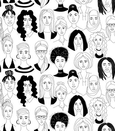 装飾的な女性の頭のシームレスなパターンの背景ガールパワーフェニニストハッピー国際女性デー。手描きのスプリンググランジ線描き落書き黒と白のベクトルイラストポスター