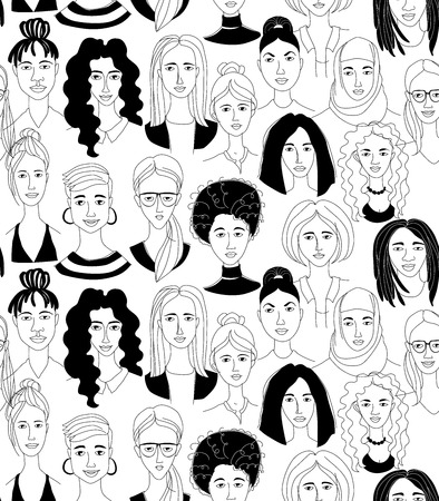 Decorative womans head seamless pattern background Girl Power Feninist Happy International Womens Day. Hand drawn spring grunge line drawing doodle black and white vector illustration poster