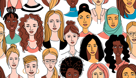 Decorative womans head seamless pattern background Girl Power Feminist Happy International Womens Day. Hand drawn spring grunge line drawing doodle colored vector illustration greeting card poster
