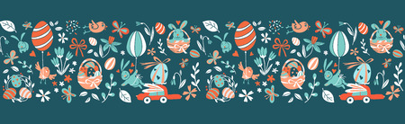 Funny Happy Easter seamless pattern border frame background greeting card with rabbit, bunny, chicks and flowers, basket, easter eggs hunt . Vector Illustration doodle kids style design.