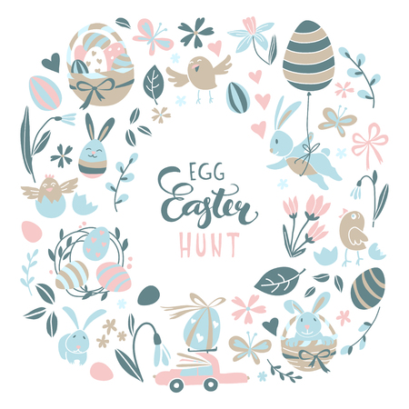 Funny Happy Easter greeting card background with rabbit, egg balloons, bunny, chicks and flowers, easter basket, children's game easter eggs hunt . Vector Illustration kids cartoon style design.