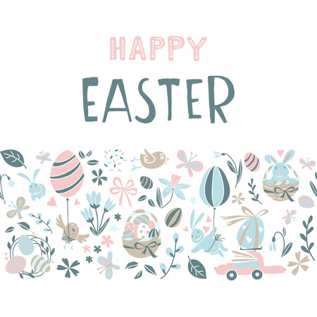 Funny Happy Easter greeting card background with rabbit, egg balloons, bunny, chicks and flowers, easter basket, childrens game easter eggs hunt . Vector Illustration kids cartoon style design. Иллюстрация
