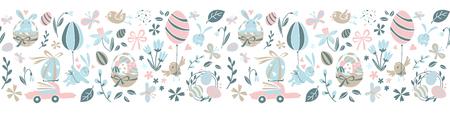 Funny Happy Easter seamless pattern frame border background with rabbit, egg balloons, bunny, chicks, flowers, basket, childrens game easter eggs hunt . Vector Illustration kids cartoon style design. Иллюстрация