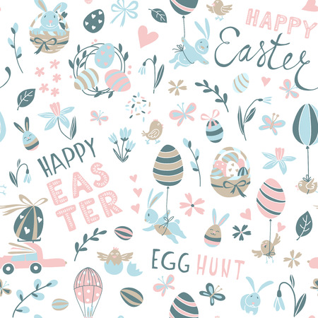 Funny Happy Easter seamless pattern background greeting card with rabbit, bunny, chicks and flowers, basket, easter eggs hunt . Vector Illustration doodle kids style design. Illustration