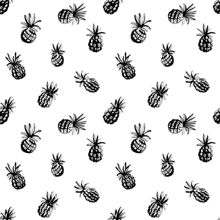 Vector illustration Tropical jungle beach party floral seamless pineapple ananas pattern background. Black and white print, grunge style design