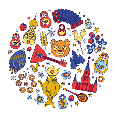 Russia colored icons thin line circle background border frame pattern. Vector collection Russian culture signs and symbols, Moscow Kremlin, Cathedral, russian doll, balalaika, samovar, bear.