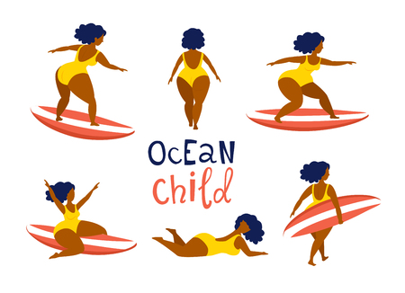 Surfing girls on the surf boards catching waves in the sea ocean. Woman with surfboard on the beach wearing bikini vector illustration cartoon clipart