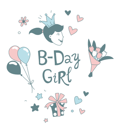 Happy Birthday B-day Girl lettering thin line frame. Congratulations and wishes in balloons, flowers vector border. Cartoon girl with crown clipart. Anniversary celebration greeting card template Stock Illustratie