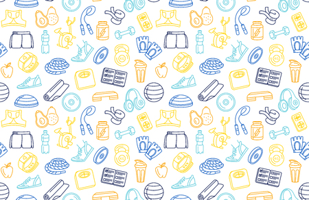 Vector illustration blue, orange, yellow thin line Sport, fitness, functional training background seamless hand drawn doodle icons style pattern. Gym sport objects: workout, tabata, cross fit, yoga Illustration