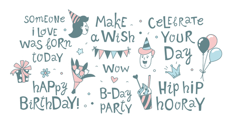 Happy Birthday lettering calligraphy set festive background. Congratulations wishes vector illustration. B-day party kids boys girls clipart. Anniversary celebration greeting card poster template Çizim