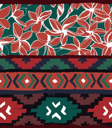 Seamless geometric pattern. Ethnic aztec tropical tribal floral flowers background