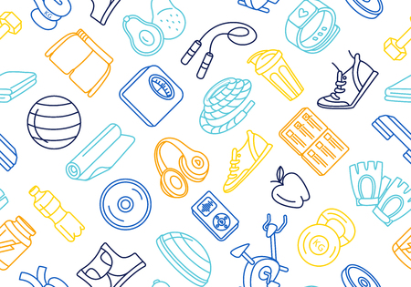 Vector illustration blue, orange, yellow thin line Sport, fitness, functional training background seamless hand drawn doodle icons style pattern. Gym sport objects: workout, tabata, cross fit, yoga