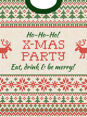 Invito alla festa di Natale con maglione brutto. Ornamenti scandinavi con motivo di sfondo lavorato a maglia.