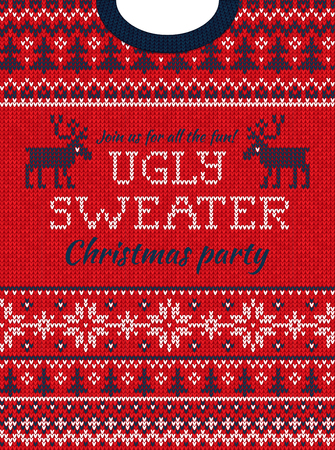 Ugly sweater Christmas party invite. Vector illustration Handmade knitted background pattern with deers, christmas tree and snowflakes, scandinavian ornaments. White, red, blue colors. Flat style
