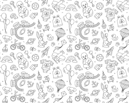 Newborn boy baby shower seamless pattern for textile, print, greeting cards, wrapping paper, wallpaper. For birthday celebration party. Vector illustration design thin line doodle stile Vettoriali